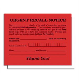Urgent Recall Notice Postcard RT-6