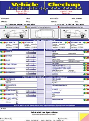Vehicle Checkup Multi Point Inspection Forms