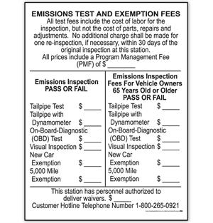 Emissions Test and Exemption Fee Sign