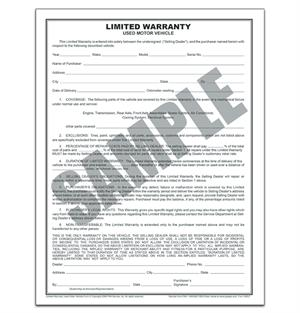 Limited Warranty Used Vehicle Form