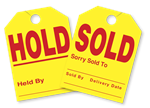 Hold and Sold Mirror Hang Tags.