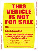 Kleer-Bak This Vehicle Not For Sale Stickers