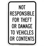 Not Responsible for Theft or Damage Sign